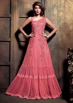 USD 83.27 Pink Net Designer Anarkali Suit 47890