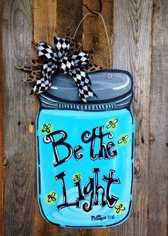 FALL SALE: Be The Light Southern Mason Jar Firefly Door Hanger Decoration // Leopard // Zebra // Giraffe // Polka Dots // Swirls on Etsy, $35.00