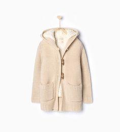ZARA - KIDS - Knit cardigan with fleece lining