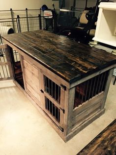 Kennel and Crate custom dog crates. Email us at KennelandCrate@yahoo.com Instagram: KennelandCrate $995.00 double crate with middle dividing door that can be left opened for one large play are! Great for large tv stand too!