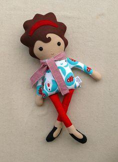 Fabric Doll Rag Doll Girl in Polar Bear Top and por rovingovine