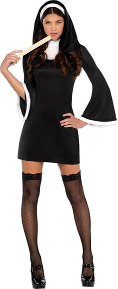 Convert the non-believers in a Blessed Babe Nun Costume! Blessed Babe Costume is a one-piece black dress with white neckline and sleeve trim, and includes a mid length habit. Priest Costume, Nun Costume, Nun Halloween Costume, Halloween Outfits, Trendy Halloween, Halloween Inspo, Halloween 2018, Happy Halloween, Adult Costumes