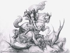 PETAR MESELDŽIJA ART: St. George drawing