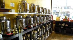 Fabulous Store.  So much fun selecting a olive oil and the pairing with a vinegar.  I bought...Chilpote Flavored Olive Oil & paired with Tangerine Balsamic Vinegar, Roasted French Walnut Oil paired with Fig Balsamic, and Lemon Olive Oil paired with Pomegranate.  All you need to go with these is a great country bread!  So many ideas on how to try these pairings!