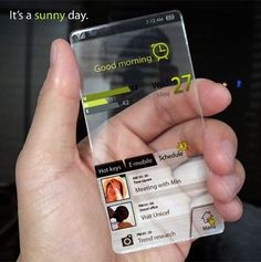 Transparent phone displays changes based on weather.