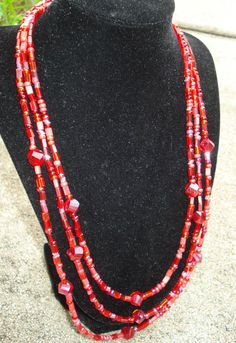 Red/Garnet/Pink Mix glass necklace bracelet by TuquoiseSun on Etsy, $25.00