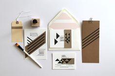 graphic kraft & black wedding invitation