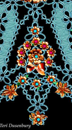 TATtle TALES Tatting Patterns: Here Comes The Bridal Doily - Mixed Media with Tatting by Teri Dusenbury.