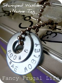 Fancy Frugal Life:DIY Stamped Washer Name Tag & Necklace  #BacktoSchool