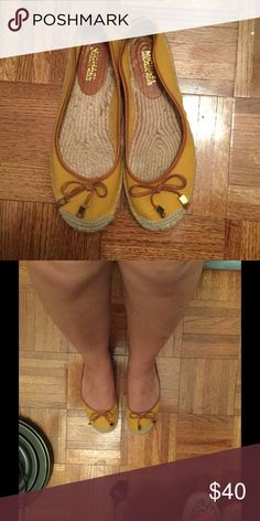 Michael Kors Espadrille Flats Yellow canvas flats with leather trim and espadrille flat sole- barely worn in perfect condition MICHAEL Michael Kors Shoes Espadrilles