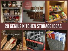 20 Genius Kitchen Storage Ideas  ~ http://diycozyhome.com/20-genius-storage-hacks-for-the-kitchen/