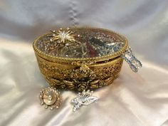 Gold Plated Filigree Jewelry Casket ~ Beveled Glass Lid ~ Ornate Roses on Oval Jewel / Trinket Box  ~ Vintage Vanity Dish by EclecticJewells on Etsy