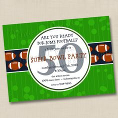 Super Bowl Party Ready For Some Football Custom Invitation Design at www.TintsAndPrints.etsy.com