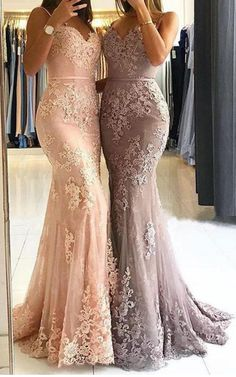 Sexy Spaghetti Straps Lace Prom Dresses, Mermaid Long