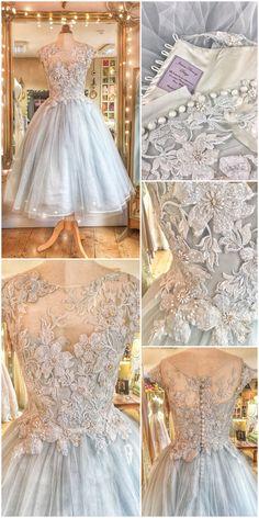 Pale blue floral embroidered tulle ballerina tea length wedding dress by Joanne Fleming Design