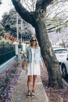 Monthly Musthaves- October Faves Distressed boyfriend denim jacket St Frock Dress Prada bag