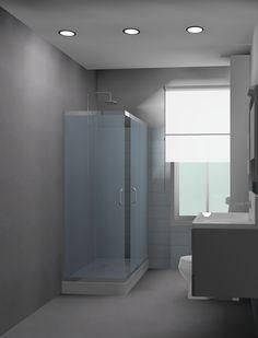 El cuarto de baño que presentamos es el producto de una recuperación de un baño en un piso de los años 70's. Nuestra propuesta para economizar gastos en primera, fue dejar los muebles localizados en el lugar que le correspondían. En segundo lugar, nuestra propuesta fue la sustitución de la bañera por un plato de