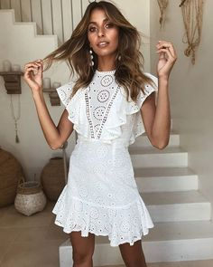 Top Magical Summer Outfits To Copy ASAP Sexy Lace Openwork Embroidered Lace Stitching Sleeveless Ruffled Dress summer dress outfit dresses for summer White Mini Dress, White Lace, Spring Dresses, Spring Outfits, Dress Summer, Beach Outfits, Frack, Mini Robes, Bohemian Summer