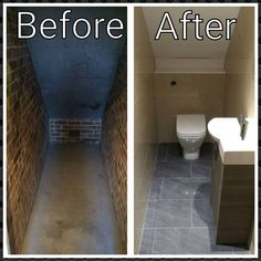 Before and after of under stairs small toilet room closet bathroom installed by AQUANERO Bathroom Design Closet Under Stairs, Bathroom Under Stairs, Half Bathroom Decor, Cozy Bathroom, Toilet Under Stairs, Bathroom Closet, Toilet Closet, Small White Bathrooms, Tiny Bathrooms