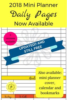 Get the link to your free 2018 mini planner daily pages at www.homemadeourway.com/2018-mini-planner along with its matching 2018 mini planner cover, calendar, and bookmarks. #2018miniplannercover #miniplanner #2018calendar #2018minibinder #minibinder #plannerpages #miniplannerdailypages