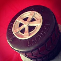 Stacked wheel cake for my son!  Cake by cjsweettreats