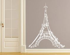 Eiffel Tower Wall Decal Vinyl Sticker Decals Art Home Decor Mural Eiffel Tower Paris Travel France Fashion Bedroom Dorm Living Room AN527