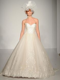 Maggie Sottero structured lace ball gown wedding dress with lace trim skirt