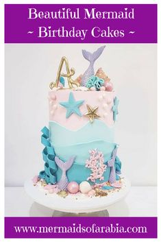 Check Out Our Stunning New Mermaid Birthday Party Treats! Little Mermaid Cakes, Mermaid Birthday Cakes, Little Mermaid Birthday, Birthday Cake Girls, Fancy Cakes, Cute Cakes, Cupcakes Decorados, Birthday Party Treats, Sea Cakes