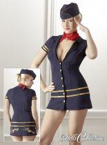 """Ezzel a jelmezzel biztosan Te lehetsz a legszexibb légi kisasszony! Kék miniruha mély dekoltázzsal, arany szegélyekkel és gombokkal. Hátul aranyszínű """"Flying Angels"""" hímzéssel. Hozzáillő kalappal és piros, szatén kendővel."""