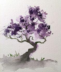 Énfasis en el color violeta, que a su vez es frío. Degradado en el tronco donde se combina con la tierra. A parte de la textura del papel, las hojas del arbol se definen.