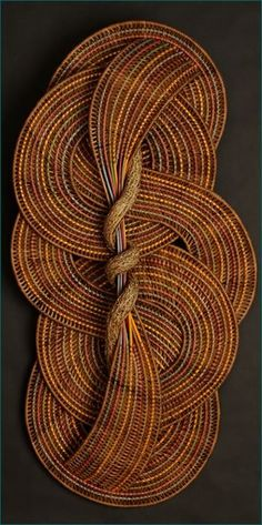 """Freeform crochet inspiration ~Circles and Curves by Tina Puckett This is not crochet. It's woven fiber - """"A twisted piece of bittersweet vine lies at the center of this weaving which has no beginning and no end. Textiles, Pine Needle Baskets, Art Textile, Weaving Art, Bamboo Weaving, Freeform Crochet, Fabric Art, Basket Weaving, Textures Patterns"""