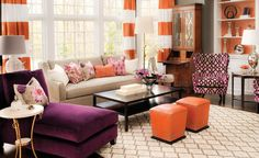 would have never have though of orange and purple but love the over all feel of this room..