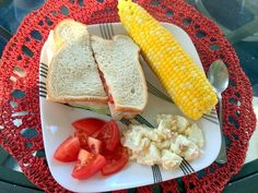turkey and provolone sandwich with lettuce and tomato, with corn on the cob, tomato slices, and potato salad #dinner #mealplan #mealplanning #withoutrecipe