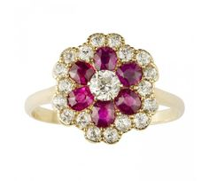 A ruby and diamond floral cluster ring |  Gallerique.com