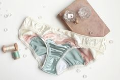 Satin 'Selene' Panties in Vanilla, Blush, Seafoam Mint Satin Handmade to Order