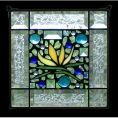 Edel Byrne Clear Bevel Border Yellow Floral Stained Glass Panel, Artistic Artisan Designer Window Panels