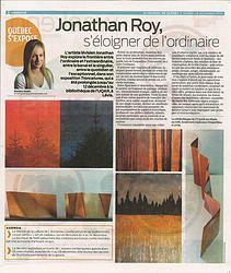 Pleine page dans le Journal de Québec Art Public, Sculpture, Jr, Journal, Artist, Paint, Sculpting, Sculptures, Journals