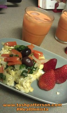 Another breaking out of the rut breakfast recipe  - Sneak some veggies on top of scrambled eggs with Carrot juice on the side