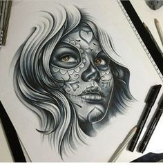Oleg Tattoo | VK Skull Girl Tattoo, Girl Face Tattoo, Sugar Skull Tattoos, Girl Tattoos, Tattoos For Guys, Sugar Skulls, Tatuajes Tattoos, Chicano Tattoos, Body Art Tattoos