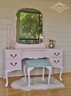Antique queen anne dressing table given a modern revival. Painted in a pastel mauve and reupholstered stool. www.rawrevivals.com.au