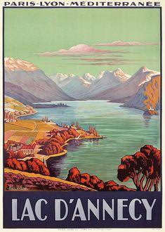 ✨ Jean Julien (1888-?) - Lac d'Annecy. Paris Lyon Méditerranée, 1925. Imp. Lucien Serre, Paris