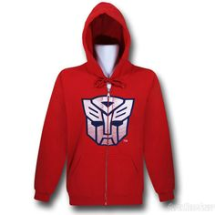 Vibrant Red Transformers Autobot hoodie...