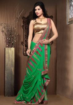 Green Faux Chiffon Saree with Blouse @ $60.80