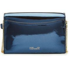 Diane von Furstenberg Soiree Metallic Leather Crossbody Bag ($375) via Polyvore featuring bags, handbags, shoulder bags, leather crossbody purse, crossbody purses, blue leather purse, leather shoulder handbags and leather purses