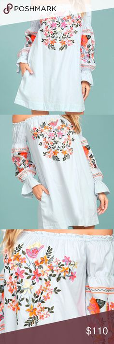 FREE PEOPLE FLEUR DE JOUR EMBROIDERED DRESS Get festival-ready in Free People's dreamy peasant dress. This short and chic style sits off the shoulder, the silhouette emphasized by puffy bishop sleeves with flared cuffs. Floral embroidery infuses the piece with creativity and color. Pullover styling Short length Bandeau neckline; A-line silhouette Long bishop sleeves with flared cuffs; off-the-shoulder design Floral embroidery at front and sleeves Unlined All cotton Machine washable Imported…