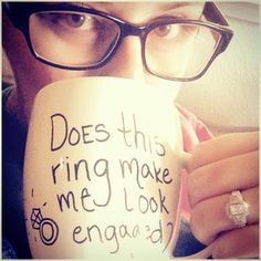 Or go the whimsical route with a funny mug. | 29 Engagement Ring Photo Ideas You'll Want To Say Yes To
