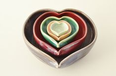 IN STOCK Heart Nesting Bowls 5 Heart Bowl Set by sarahwelchpottery