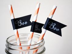 Halloween Boo Paper Drink Straw Flags