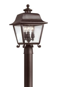 Troy Lighting P9444 Bristol 3 Light Post Light with Seedy Glass Natural Bronze Outdoor Lighting Post Lights Post Lights