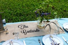 The... Personalized Burlap Table Runner by SoireeAdornments, $25.00